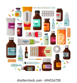 Medicine, pharmacy concept. Drug, medication set of icons. Vector illustration