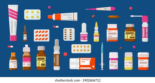 Medicine, pharmacy set of drugs. Tablets, capsules-blisters, ointments, glass vials with liquid medicine, ampoules, thermometer, sprays. Concept of pharmaceuticals and drugs. Flat style, vector.