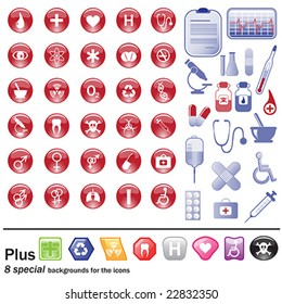 Medicine and pharmacy - symbols and icons