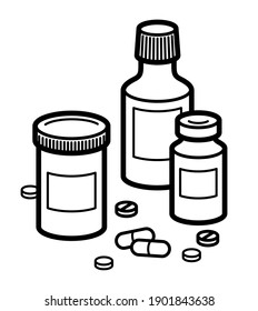 Medicine pharmacy theme medical bottles 3d vector illustration isolated, medicaments and drugs, health care meds cartoon, vitamins or antibiotics, simple linear design.