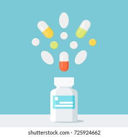 Medicine Pills Bottle with Pills over It. Pharmacy and Treatment Concept Vector Illustration