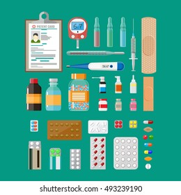 Medicine pills capsules and bottles and healthcare devices on blue background. Tablets in flat style. Medical icons set. vector illustration