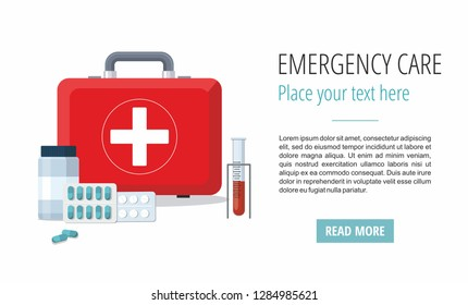 Medicine pills,  First Aid Box, Medical test tube. Web banner. Vector illustration