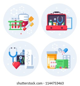 Medicine pills flat background. Pharmaceutical drugs, pharmacy laboratory bag and clinical treatment homeopathy herbal icon. Medical drug treatment, blood test doctor help concept vector illustration