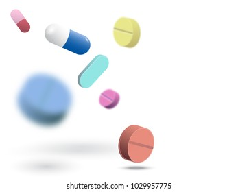 Medicine pills and tablets vector set. Antibiotic, capsule and drug. Pharmacy pills isolated on white.