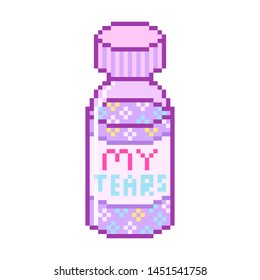Medicine Pixel art 8 bit object. Pink fashion digital game. Pastel bottle of pills. girly sticker. Vintage assets.