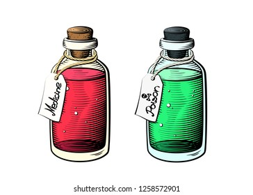 Medicine and poison glass bottles in bright colors