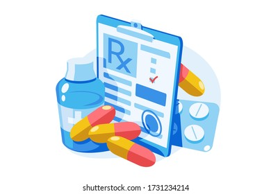 Medicine prescription with medicines vector illustration. Clipboard with recipe bottle with potion, pills, capsules and tablets flat style design. Isolated on white background