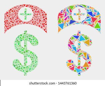 Medicine price mosaic icon of triangle items which have variable sizes and shapes and colors. Geometric abstract vector design concept of medicine price.