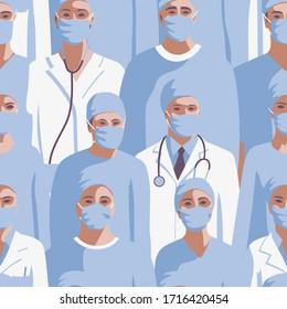 Medicine professionals in medical mask seamless border.