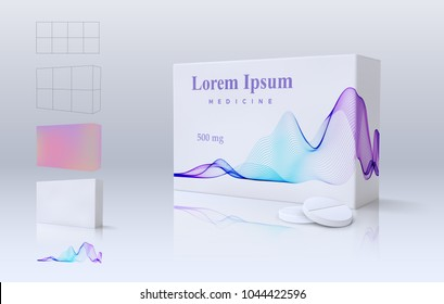 Medicine remedy package and tablets on light background. Vector realistic illustration. Medical pills pack with color wave. Pharmacy packaging product mockup with distortion mesh grid to place design.