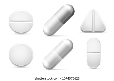 Medicine round white cure pills, aspirin, antibiotics, vitamin and painkiller drugs. Pain treatment capsule pill and pharmaceutical tablet drug chemical science close-up vector set isolated