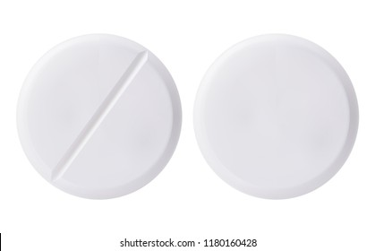 Medicine round white cure pills, aspirin, antibiotics, vitamin and painkiller drugs. White medicine pills and tablets isolated on white background. Pharmaceutical tablet drug chemical science close-up