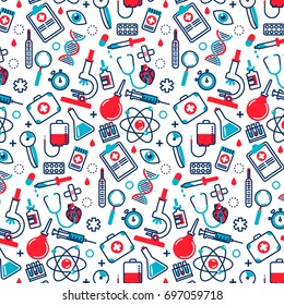 Medicine seamless pattern in modern flat line style. A lot of medical things, icons. Health care concept.