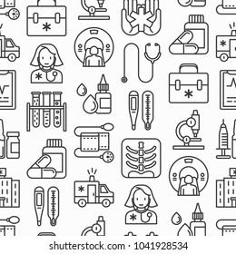 Medicine seamless pattern with thin line icons: doctor, ambulance, stethoscope, microscope, thermometer, hospital, z-ray image, MRI scanner, tonometer. Vector illustration for medical survey, report.