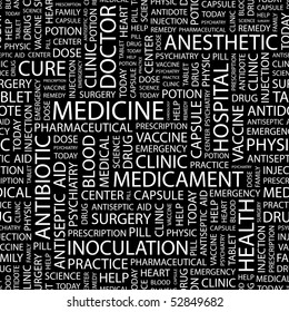 MEDICINE. Seamless vector pattern with word cloud.