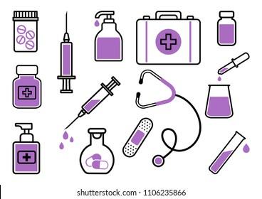 Medicine. Set of black and purple icons. Vector illustration
