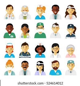 Medicine set with doctors and nurses avatars in flat style isolated on white background. Practitioner young doctor man and woman icons. Medical staff