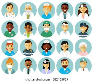 Medicine set with doctors and nurses avatars in flat style isolated on white background. Practitioner young professional man and woman round icons. Medical staff