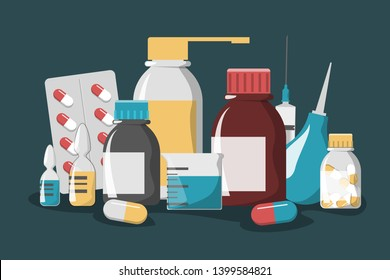 Medicine set. Drug bottle, pill, first aid kit and plaster. Pharmacy and healthcare. Disease treatment with tablet. Syringe for injection.
