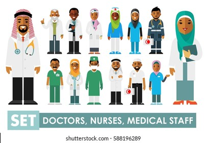 Medicine set with muslim arabic doctors and nurses in flat style isolated on white background. Practitioner young islam doctors man and woman in hijab standing. Medical staff