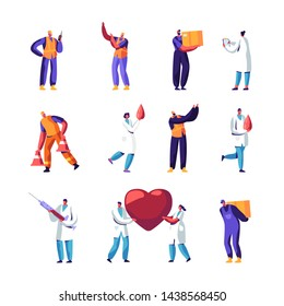 Medicine Staff, Road Repair Workers Set. Working People Making Asphalt Maintenance. Warning Signs Construction, Doctors Make Blood Donation in Laboratory, Healthcare. Cartoon Flat Vector Illustration