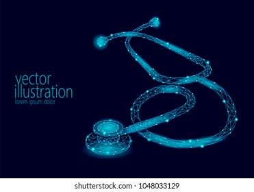 Medicine stethoscope low poly health care World Day. Polygonal 3D model medical science research doctor nurse equipment vector illustration