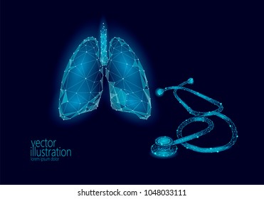 Medicine stethoscope low poly lungs health care World Tuberculosis Day. Polygonal 3D model medical asthma science research doctor nurse equipment vector illustration