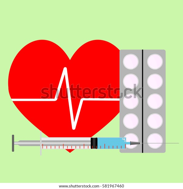 Medicine for stimulation of heart. Adrenaline injection for heart and drug. Vector illustration