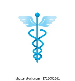 medicine symbol icon over white background, gradient style, vector illustration