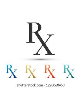 Medicine symbol Rx prescription icon isolated on white background. Set elements in colored icons. Flat design. Vector Illustration