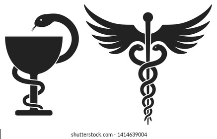Medicine symbols: Bowl of Hygieia and Caduceus. Vector illustration isolated on white.  Most ancient symbols related to medicine and pharmacy. Bowl and staff with snakes symbolize medicament or poison