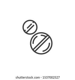 Medicine tablets line icon. linear style sign for mobile concept and web design. Medication drug outline vector icon. Symbol, logo illustration. Vector graphics