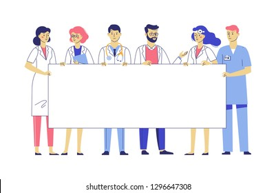 Medicine team concept with different doctors and blank banner with copy space for text. Group of practitioner doctors young man and woman standing together and holding empty placard. Consultation