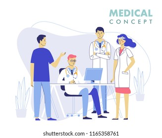 Medicine teamwork concept with doctors in consulting process. Practitioner doctors young man and woman in hospital medical office. Consultation and diagnosis.