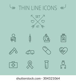 Medicine thin line icon set for web and mobile. Set includes- heart with cardiogram, lady nurse, first aid kit, capsule, syringe, test tube, unity ribbon, ambulance icons. Modern minimalistic flat