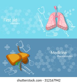 Medicine and transplantation human organs lungs liver surgery medical instruments vector banners