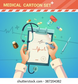 Medicine and treatment with doctor writing a prescription cartoon vector illustration