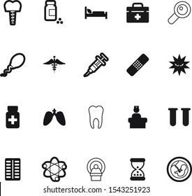 medicine vector icon set such as: detective, prenatal, female, immunization, caduceus, power, timer, insurance, focus, hourglass, logo, fetal, microbiology, find, medic, bacteria, baby, wait, office