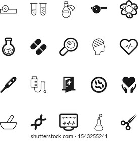 medicine vector icon set such as: professional, dna, kitchen, pulse, smile, drop, beat, lupe, cut, business, genetic, rhythm, molecular, evolution, strand, colorful, pestle, emergency, traditional