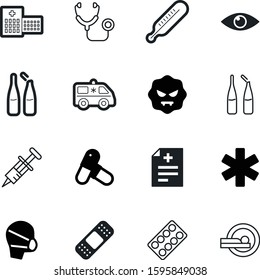 medicine vector icon set such as: vision, pain, strip, microbe, tomography, tool, pack, cover, accident, scale, emblem, transport, syringe, star, transportation, blister, plaster, measuring, view