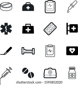 medicine vector icon set such as: color, pack, accident, pipette, clinical, life, bed, needle, tool, experiment, snake, art, liquid, aesculapius, star, trolley, vial, urgent, injection, strip, staff