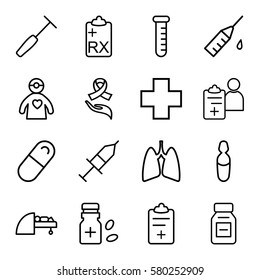 Medicine vector icons. Set of 16 Medicine outline icons such as medical ampoule, medical clipboard, pill, ribbon on hand, MRI, lungs, injection, doctor prescription, clipboard