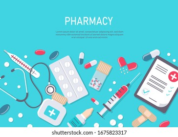 Medicine vector illustration. Pharmacy background, pharmacy desing, pharmacy templates. Medicine, pharmacy, hospital set of drugs with labels. Medication, pharmaceutics concept. Different medical