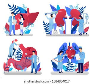 Medicine vector illustrations for marketing material, ads, annual report cover, business presentation. Brochure cover design and flyer layout templates set for medicine, health care, therapy.