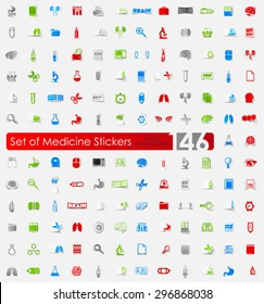 medicine vector sticker icons with shadow. Paper cut