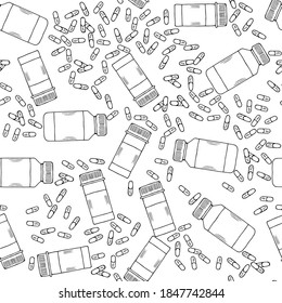 Medicine vials, bottles, pills, vitamin capsule sketch seamless pattern. For vitamin and dietary supplement. Freehand drawing vector. Doodle style.