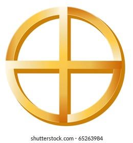 Medicine Wheel symbol, golden icon of Native Spirituality, isolated on a white background.