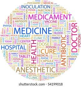 MEDICINE. Word collage on white background. Vector illustration.