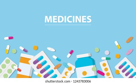 medicines drug collection with banner free space with blue background vector illustration